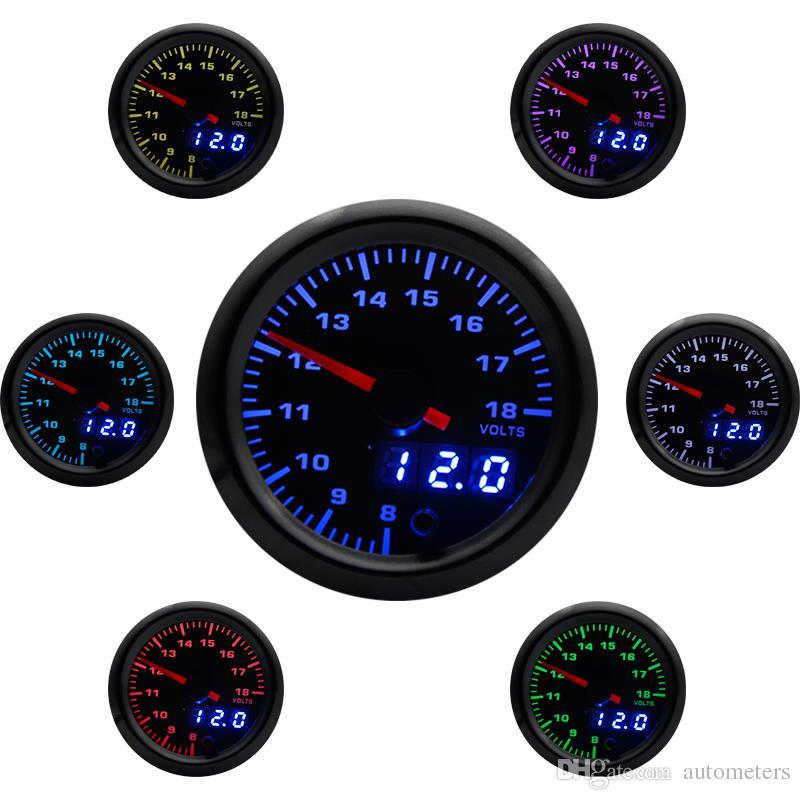 2 inch 52mm 7 Colors LED Car Auto Voltmeter 8-18 Volt Gauge Analog/Digital  Dual Display Voltage gauge Car Meter