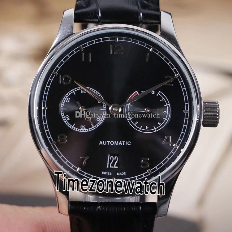 New Portugieser IW500109 Steel Case Black Dial IW500703 Automatic 7 Day Power Reserve Mens Watch Leather For Timezonewatch E03c3