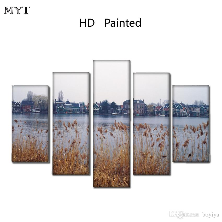 Wall decor Unframed HD Printed 5 Pieces paintings Lakeside building spaying Module Wall Art Pictures on Canvas for living room home decor