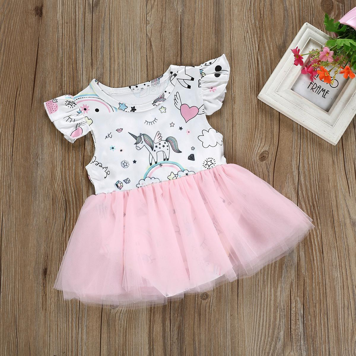 f38056d9a54a 2019 New Baby Girls Romper Kids Fashion Flying Sleeves Unicorn ...