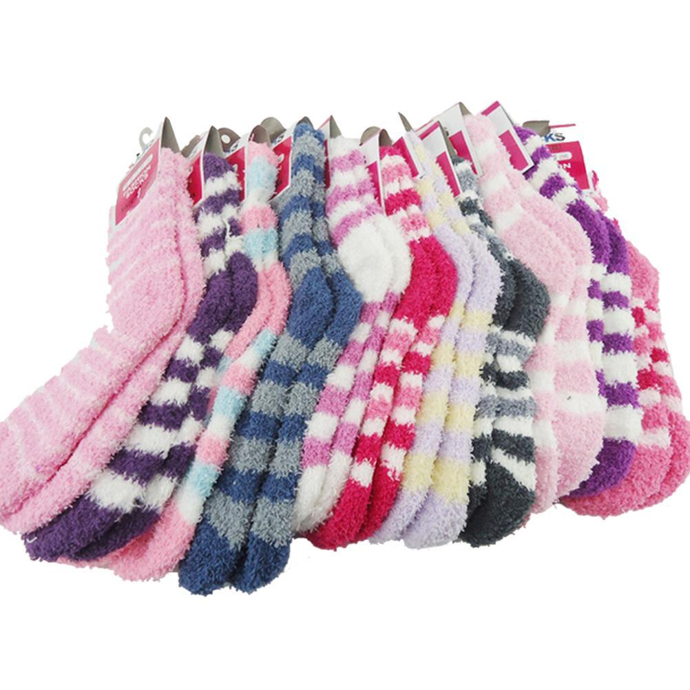 f7adc65dfb3fa 2019 JETTING Lady Winter Gift Soft Floor Home Women Bed Socks Stripe Fluffy  Warm Winter Thick Candy Color Casual Socks From Denling, $23.32 | DHgate.Com