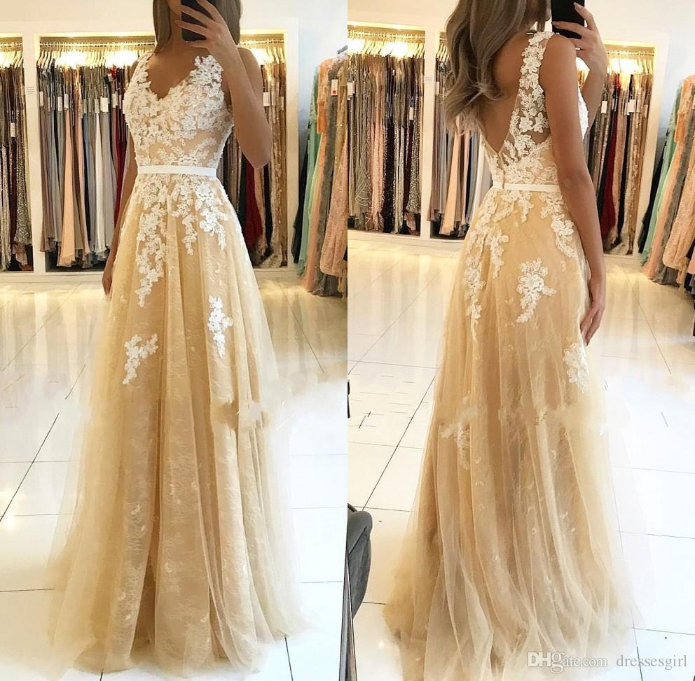 Elegant A Line V Neck Evening Dresses with Lace Appliques Gold Prom Party Gown V Cut Back Women Formal Wear BC2130