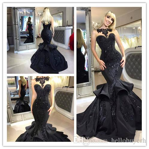 Sexy Mermaid Plus Size Cheap Black Gothic Wedding Dress Abito Da