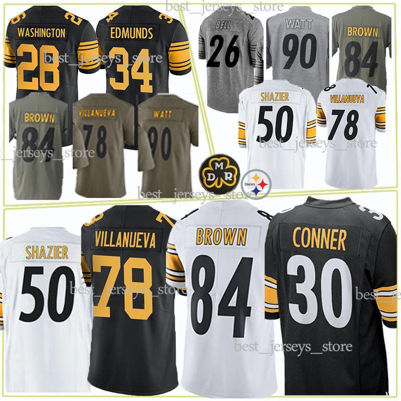 09962d553 2019 Pittsburgh Jerseys Steeler 19 Juju Smith Schuster 30 James Conner 84 Antonio  Brown 78 Alejandro Villanue 2019 Best Selling Jersey From ...