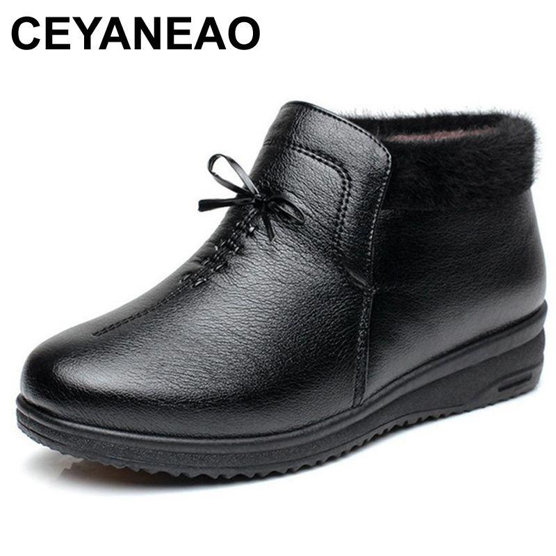 d15c3f6b2 Compre CEYANEAOFashion Invierno Mujer Cálido Botas Para La Nieve Botines  Impermeables De Cuero Para Mujer Madre Casual Abuela Zapatos De Algodón  Suave A ...