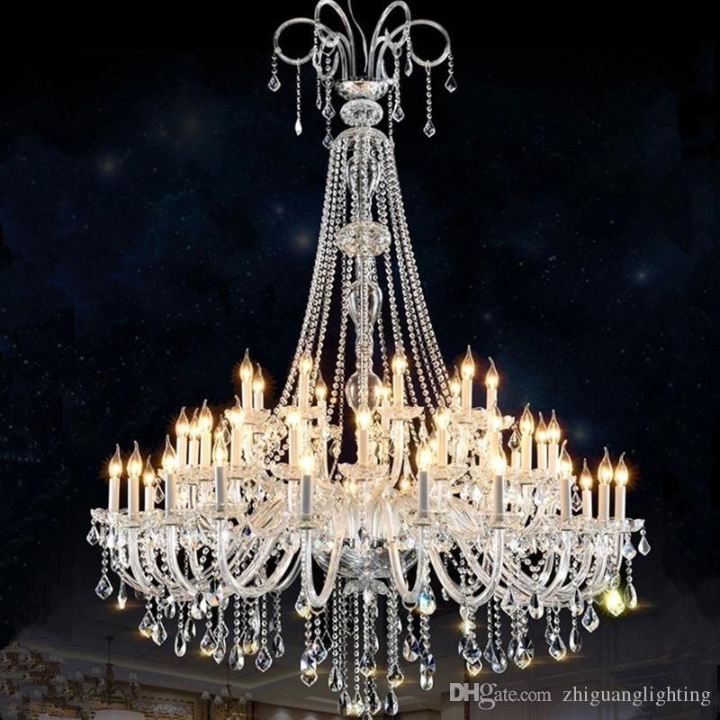 super popular fb835 03622 glass crystals for chandeliers Living Room Hotel Large Double Layer  chandelier K9 crystal lights luxury chandelier crystal Light