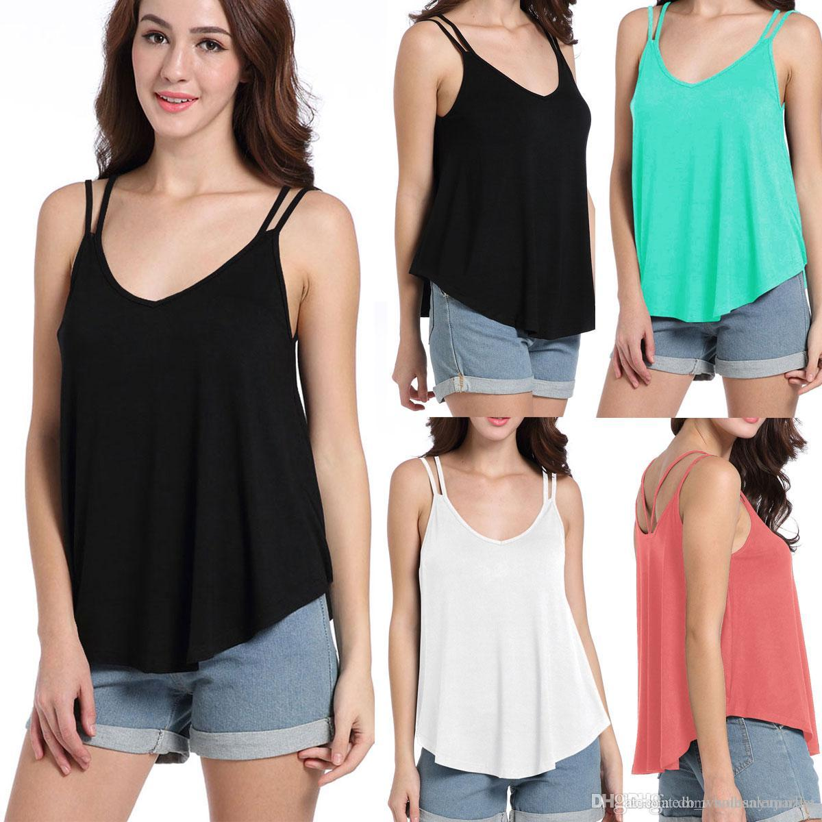 c1d7808c80acc 2019 New V Neck Sleeveless Women T Shirt Solid Loose Casual Backless Tank  Tops Summer Fashion Sexy Women Vest Vestidos CL606 From Dh wholesalemarket