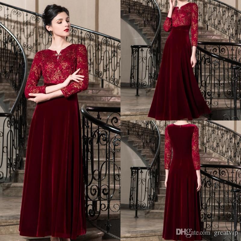 595c38e358 Compre 2019 Vestidos De Madre De La Novia De Color Rojo Oscuro Velvet Lace  Appplique Manga Larga Longitud Del Tobillo Tallas Grandes Vestidos De  Fiesta Para ...