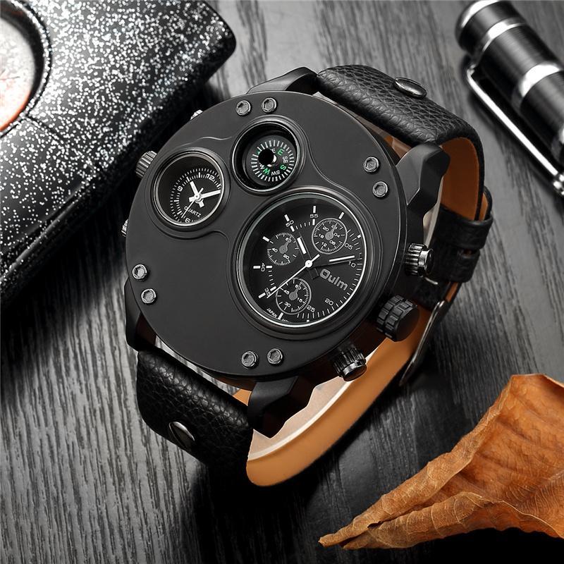 d2f38789c18 Compre Oulm Único Esporte Relógios Homens Marca De Luxo Dois Fuso Horário  Relógio De Pulso Decorativo Bússola Masculino Relógio De Quartzo Relogio  Masculino ...