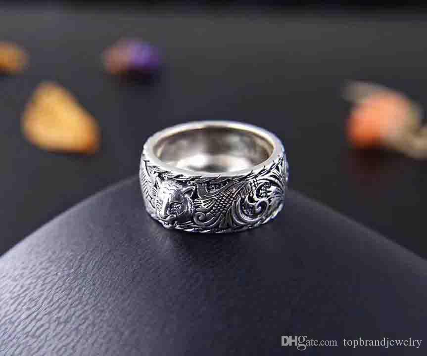 New arrival S925 pure silver band ring with lion head shape design and logo for women and man wedding jewelry gift + box free shipping PS