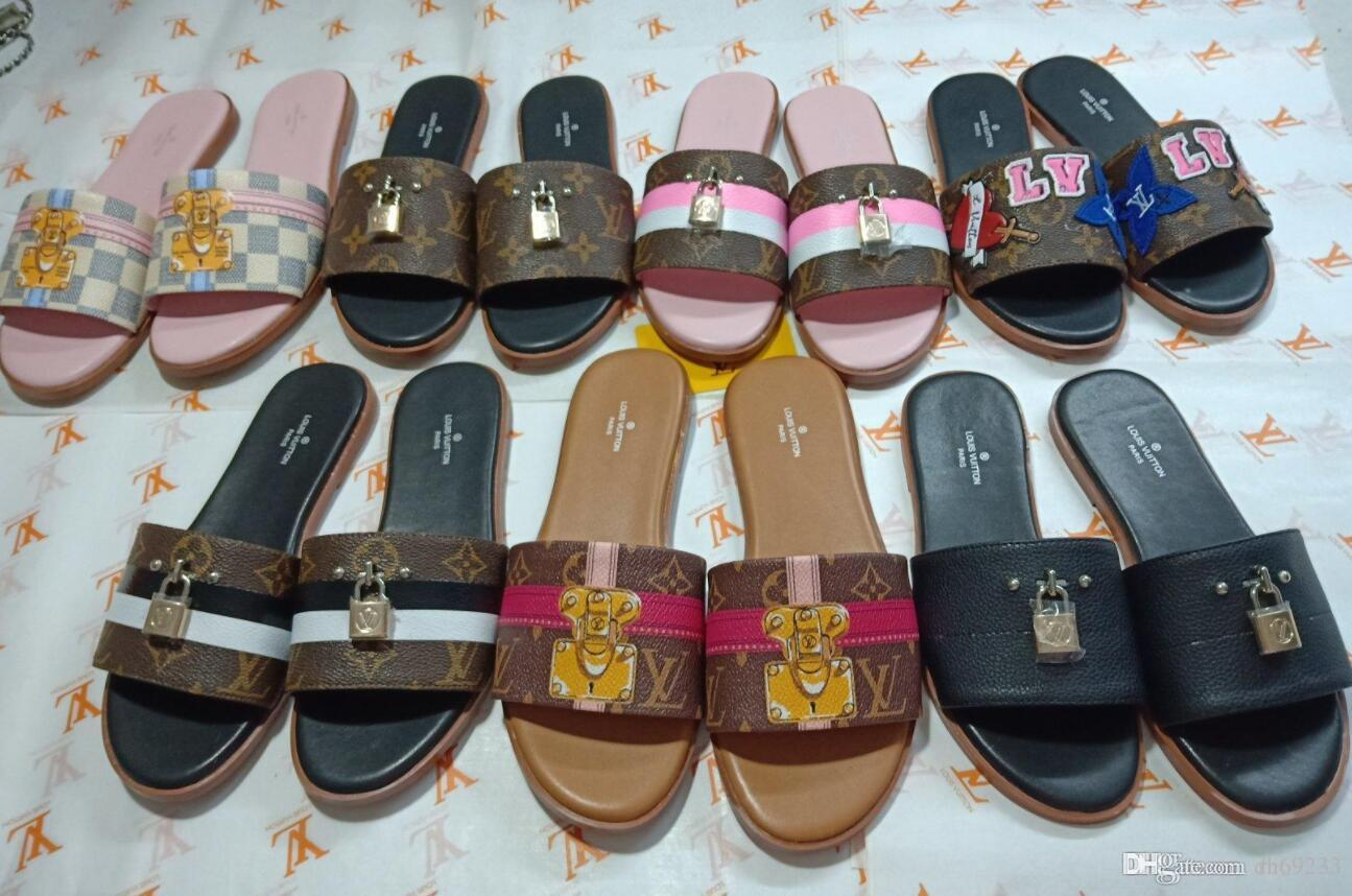 buy online 98c6e 59810 Mode Hausschuhe für Frauen mit Leder Obermaterial 2018 Mode Damen Rutsche  GRÖSSE 35-42 Hausschuhe Sandalen mit Box