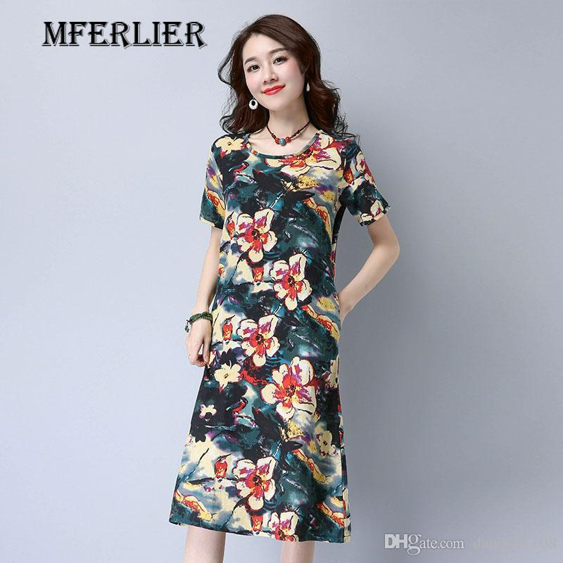 76b170254f6 Summer Women Dress Chinese Style Vintage Floral Print Dress Loose O Neck  Pocket Cotton Linen Summer Dresses Girl Dress Summer Dresses For Women From  ...