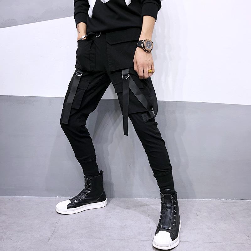5e8113e6ec2b6 Compre Pantalones Negros De Carga De Patchwork De Hip Hop De Hombres Con  Muchos Bolsillos Estilo Coreano Streetwear Para Hombre Discoteca Cantante  Punk ...