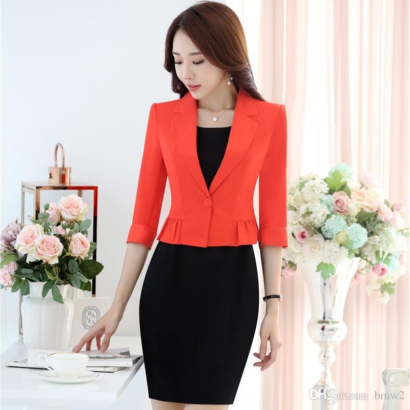 65db2854e Red Slim Moda Profesional Mujer de negocios Uniformes Diseño Blazer trajes  con chaquetas y vestido Blazers Trajes