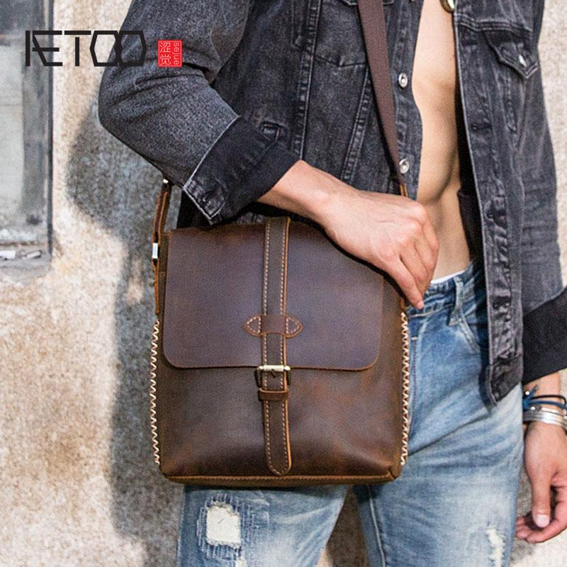 AETOO Handmade Old Men S Bag Crazy Horse Leather Shoulder Bag Retro Leather  Men S Casual Small First Layer Messenger Leather Tote Bags Clutch Purse  From ... 24293ef4d0101