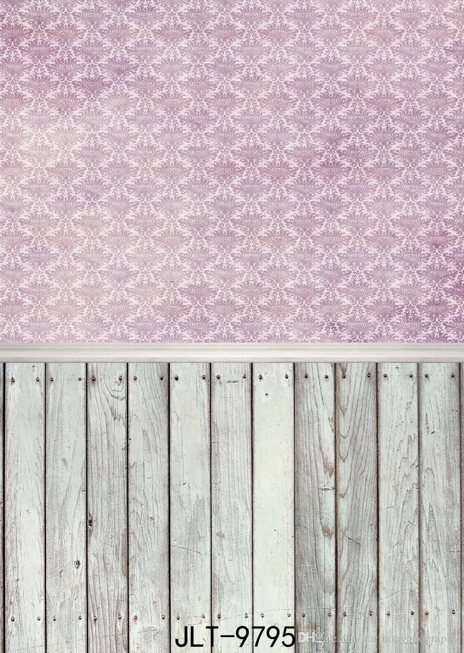 Pink Wallpaper Wooden Board Vinyl Photography Background For