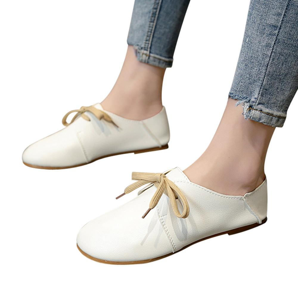 324fa02a7f44 Designer Dress Shoes 2019 Summer New Women S Single Korean Version Of  Vintage Spring Bow Tie Soft Bottom Wild Lace Up Shallow Casual  89 Strappy  Heels Geox ...
