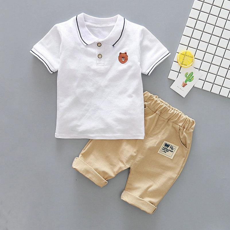 fd333c37ef1b Baby Boy Clothes Summer Boys clothing sets suit Boys clothing sets Bear  shirt T-shirt Tops +Shorts Pants kids Outfits Set