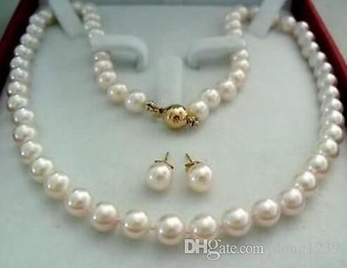 14K gold brooch 8-9MM white Akoya Pearl pendant necklace