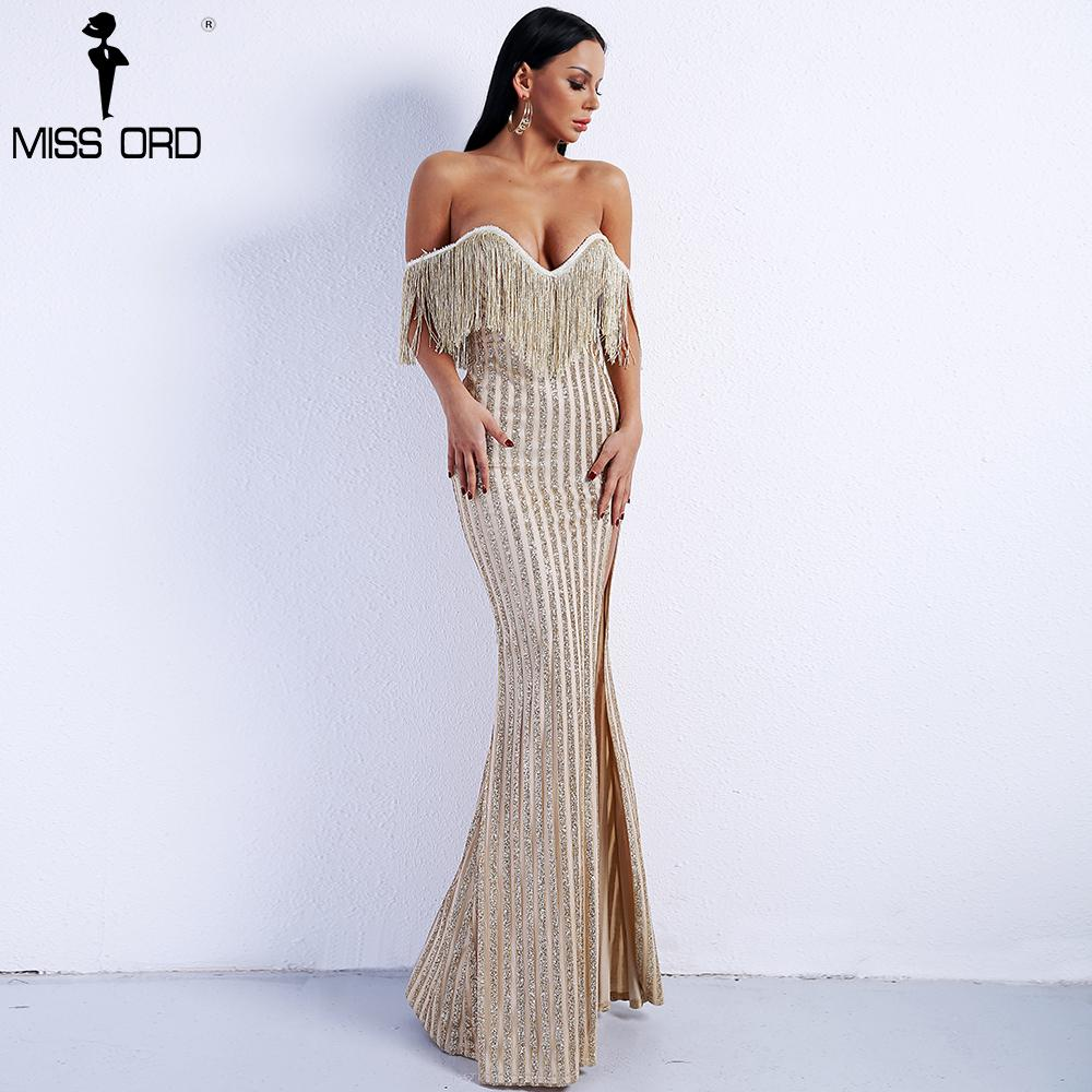 3f10e7fdf72c8 Missord 2019 Sexy Elegant V Neck Off Shoulder Tassel Glitter High Split  Maxi Dress Ft8950 Q190417