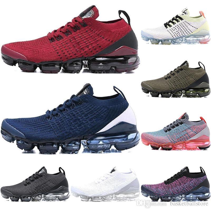 size 40 59838 d1010 Cojín 2018 Nike Air Vapormax Flyknit 3.0 Zapatos Para Correr Hombres  Mujeres Clásico Triple Negro Blanco Entrenadores Deportes Funcionamiento 3 Zapatos  Para ...