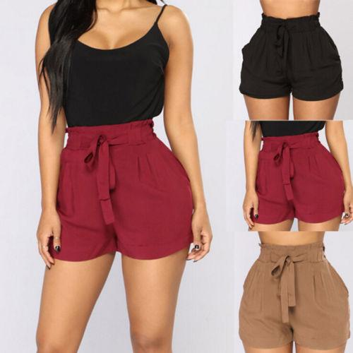 cb3b81ed7c High Waist Short Hot Trousers 2018 New Women Hot Trousers Summer Casual  Loose Shorts Bow Beach Trousers
