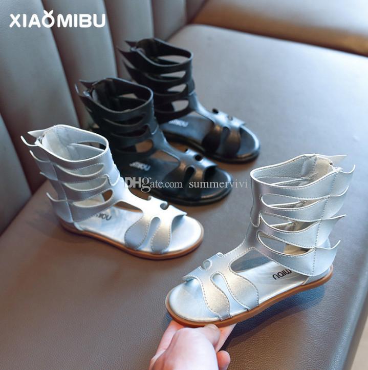 89aa67bc27 2019 Summer girls princess sandals kids hollow breathable roman shoes  children non-slip flat campagus boots designer kids shoes F6276