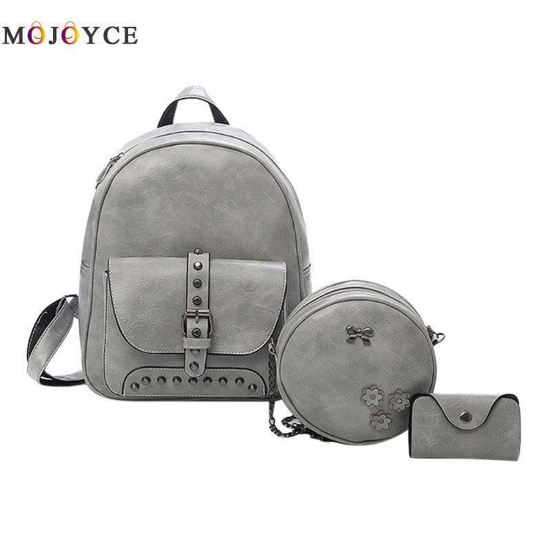 c3292a7d5a 2019 FashionRivet Women Backpack Solid Flap Pocket Zipper Casual Composite  Teenager Leather Backpack Mochila Feminina Sac A Dos Femme School Backpacks  Cool ...
