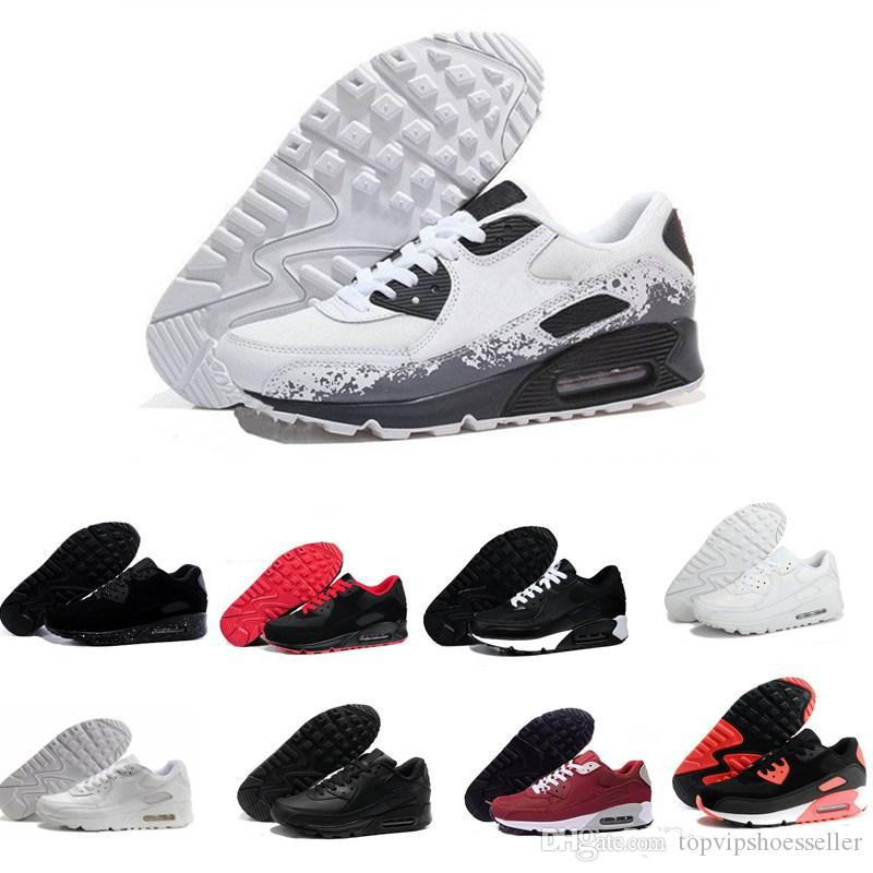 Nike Air Max 90 shoes for men Hombres mujeres Zapatos Corrientes Negro Rojo Blanco Deportes Trainer Cojín de Aire Superficie Transpirable Zapatos