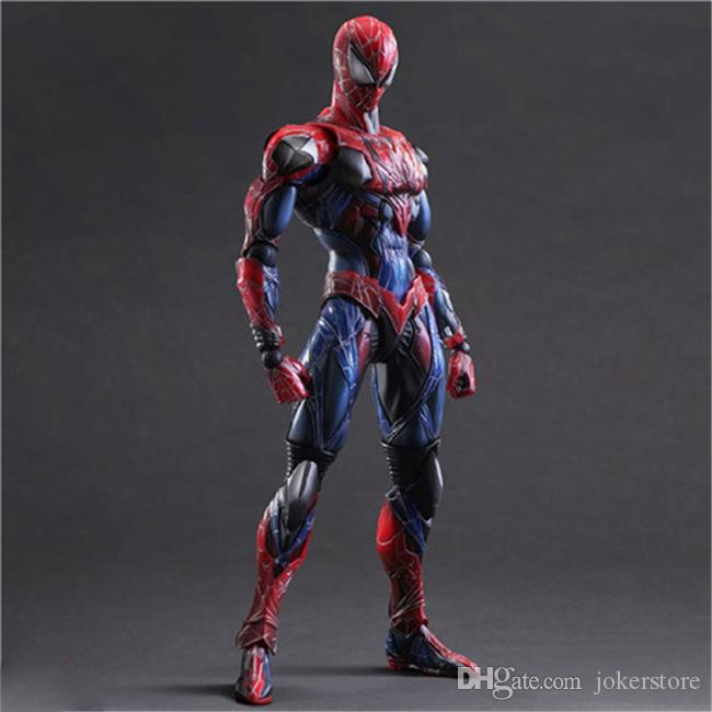 Play Arts Spider-man Red Painted Anime Figure Action Figures Collectible Moble Hot Toys Birthdays Gifts Doll New Arrvial Hot Sale PVC