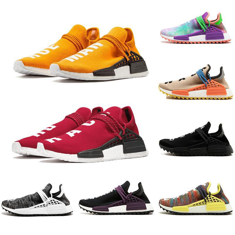 sports shoes a4988 0e678 36-47 Orange red Human Race Hu trail pharrell williams men running shoes  Nerd black cream mens trainer women designer sports runner sneakers