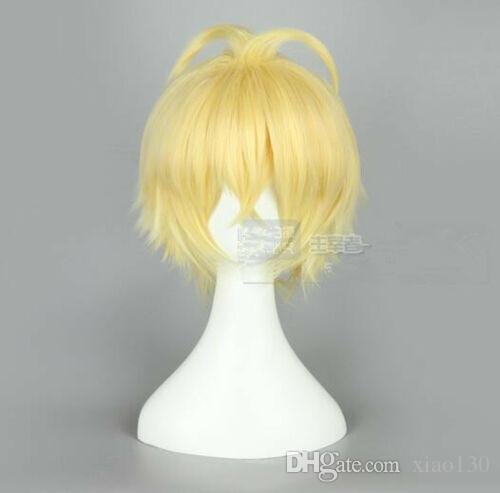 Seraph End Golden Short Hair Cosplay Wig Smart Men Women Popular Wigs G25#
