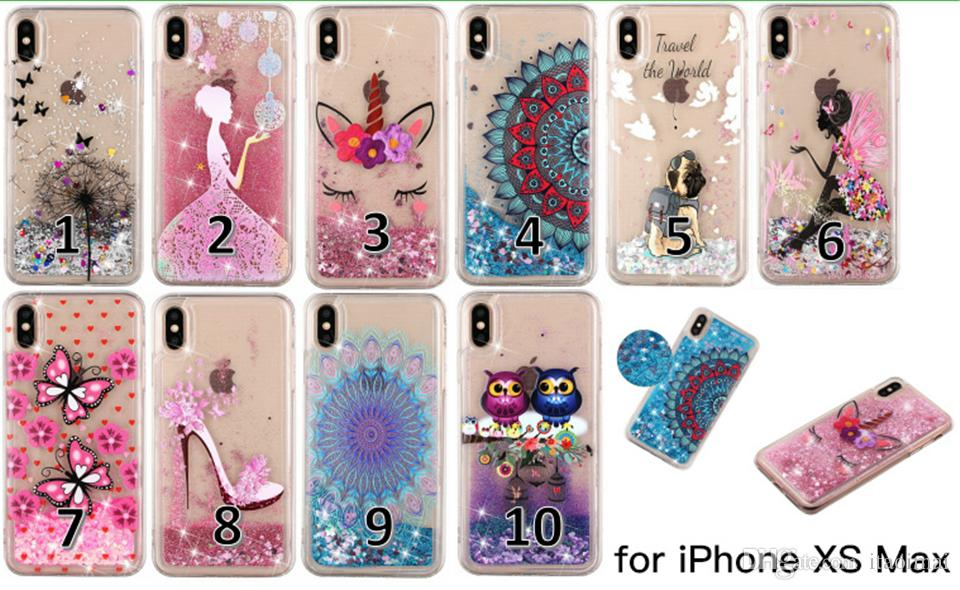 Colorful Painted Soft TPU Glitter Liquid Quicksand Phone Case for iPhone X XR XS Max 6 7 8 Plus and Samsung Galaxy S10 S9 S8 Plus S7 S6 Edge