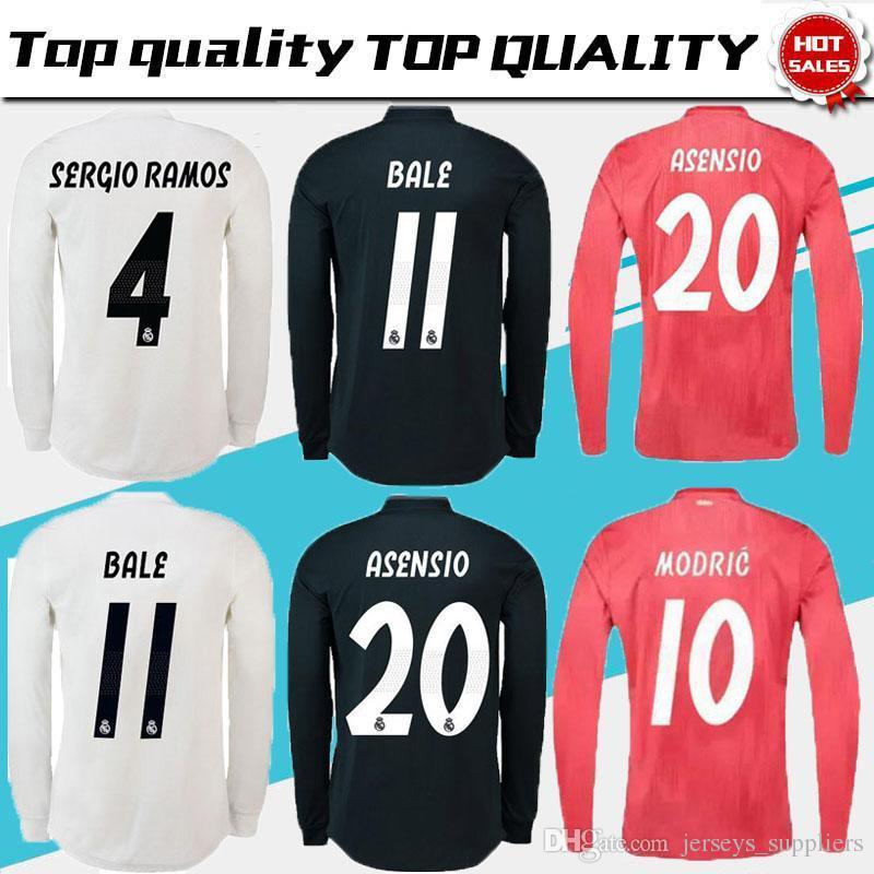 be20ef48fb371 Real Madrid EA Sports Camiseta De Manga Larga Jersey De Fútbol 2019  Campeones Liga 10 MODRIC 12 Marcelo   20 ASENSIO ISCO Away Coral Rojo Uniforme  De Fútbol ...