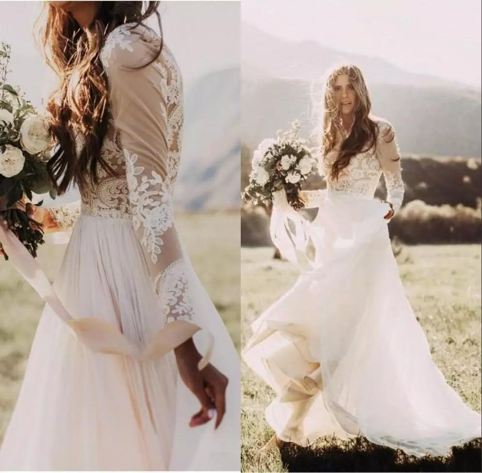 2018 Modest Simple Bohemian Wedding Dresses Vintage Country Style Long Sleeves Summer Boho Hippie Western Beach Bridal Gowns