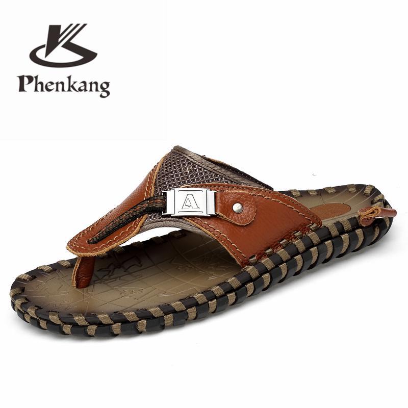 2f8c5acb85 Pantofole uomo 2019 Scarpe estive da spiaggia Uomo Infradito in vera pelle  Tacchi piatti Sandali maschili Scivoli Scarpe di lusso taglia grande 48