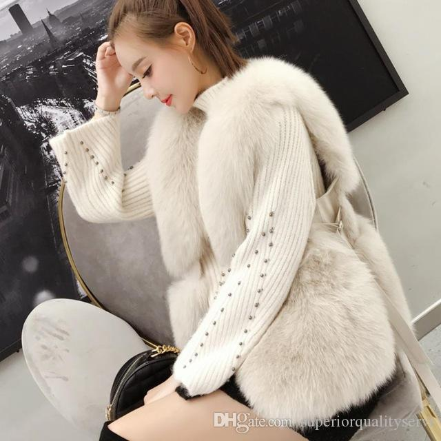 S-2XL Winter warm faux fox Fur vest Coat female fashion Side strap design sleeveless thick fur jacket waistcoa Outerwear