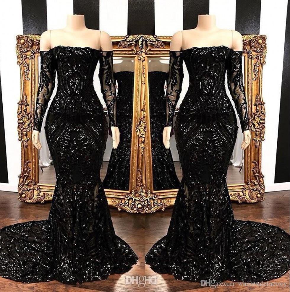 80985fec1 Negro fuera del hombro Lentejuelas Mangas largas Sirena Vestidos de noche  2019 Apliques de encaje Tren de barrido Fiesta formal Vestidos de fiesta ...