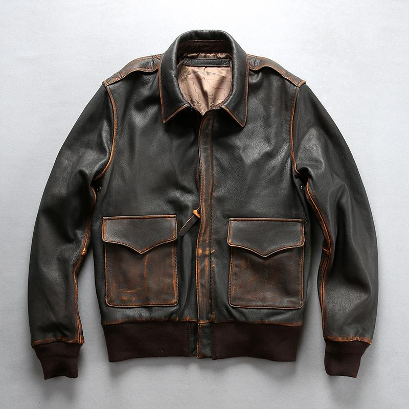 ef1d5ff6a DHL free shipping Men's Genuine Leather Jacket Vintage Brown/Black  Motorcycle Biker Casual Cowhide Slim Fit Winter Russia Coats