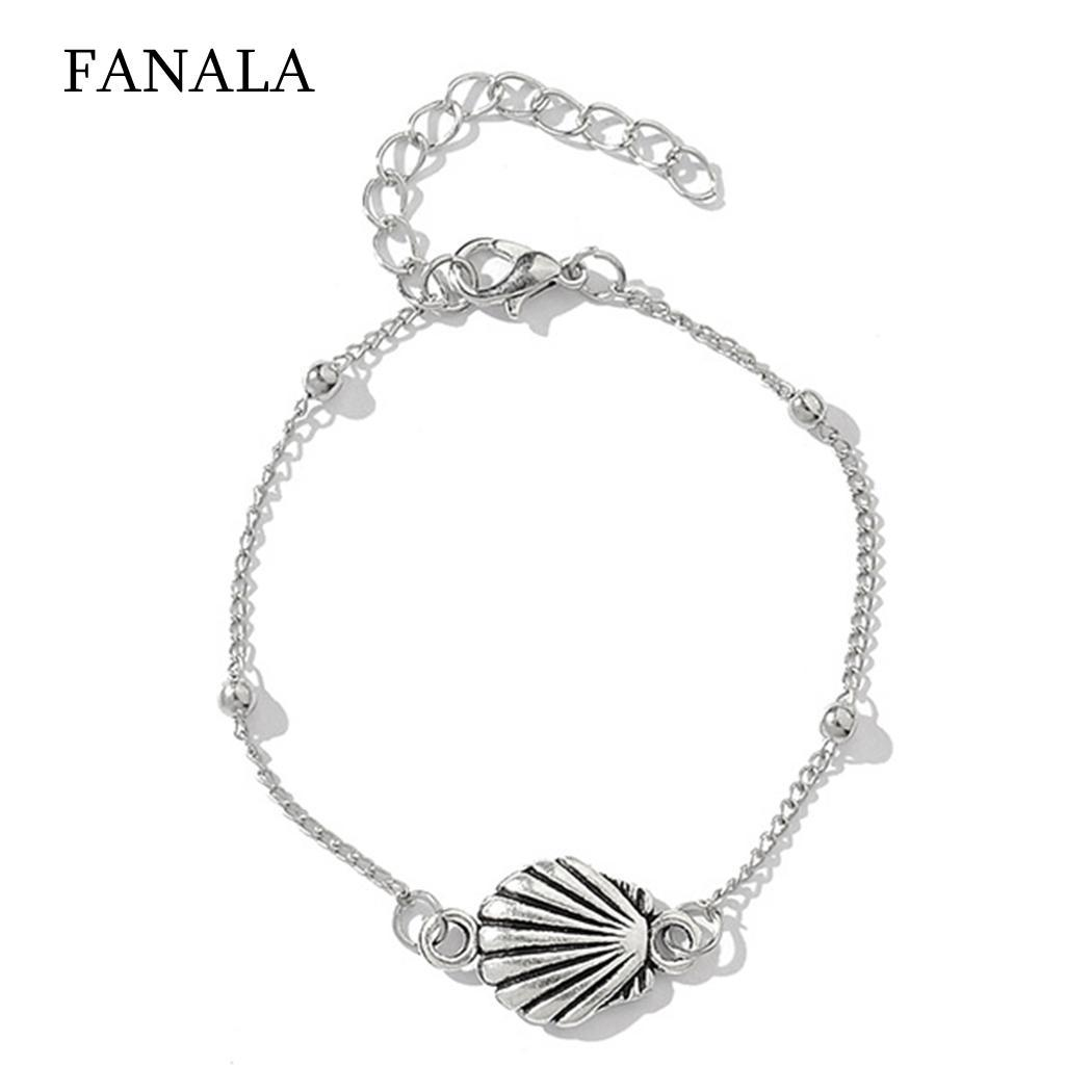 Fashion Beach Cross Hollow Love Conch Fishtail Ball Casual 23cm/9.1inch Bracelet of (5Pcs) Set Silver