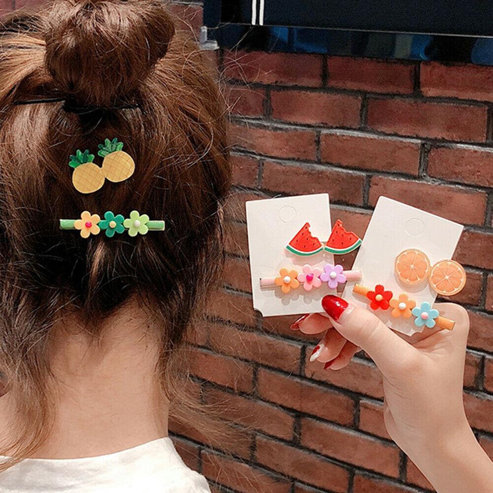 2adet / Set Çocuk Kız Meyve Çiçek Firkete Kawaii Kadınlar Saç Barrette Bebek Şapkalar Hediye Klip