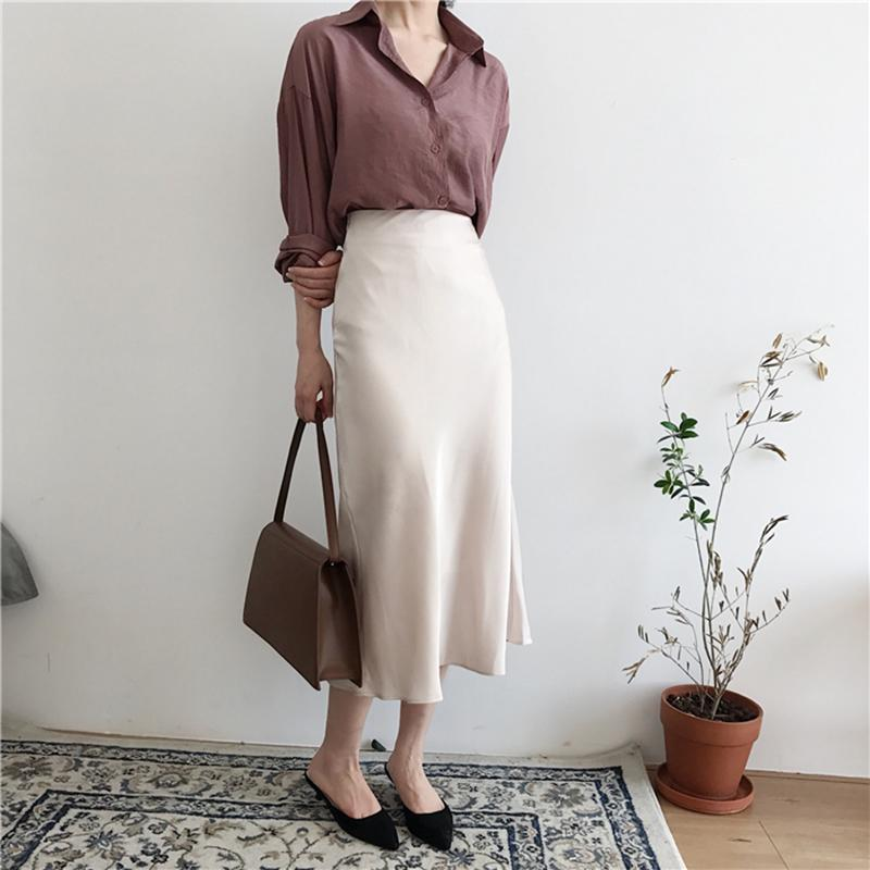 49aa50b65df Summer Elegant High Waist Women Long Skirt Solid A-line Faldas Mujer Female  Solid Slim Jupe Femme Saia Longa High Quality Skirts Skirts Skirts Online  with ...