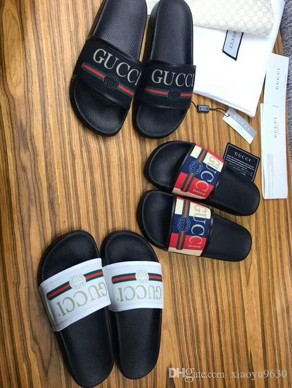 c4ec8e24a3b2 2019 Black Rubber Slide Sandal Slippers Green Red White Stripe Fashion  Design Men Women With Box Classic Ladies Summer Flip Flops GUC Womens  Sandals Walking ...
