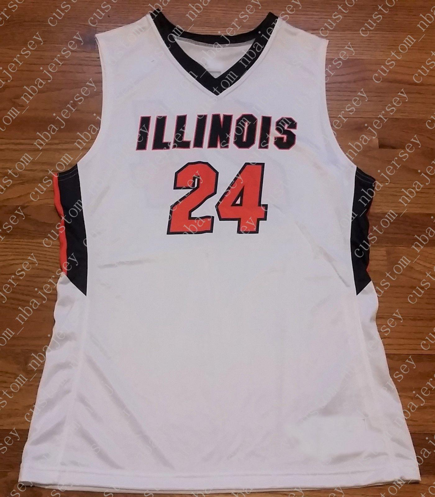 Cheap custom Illinois Fighting Illini Team Emerge Jersey #24 White Stitched Customize any number name MEN WOMEN YOUTH XS-5XL