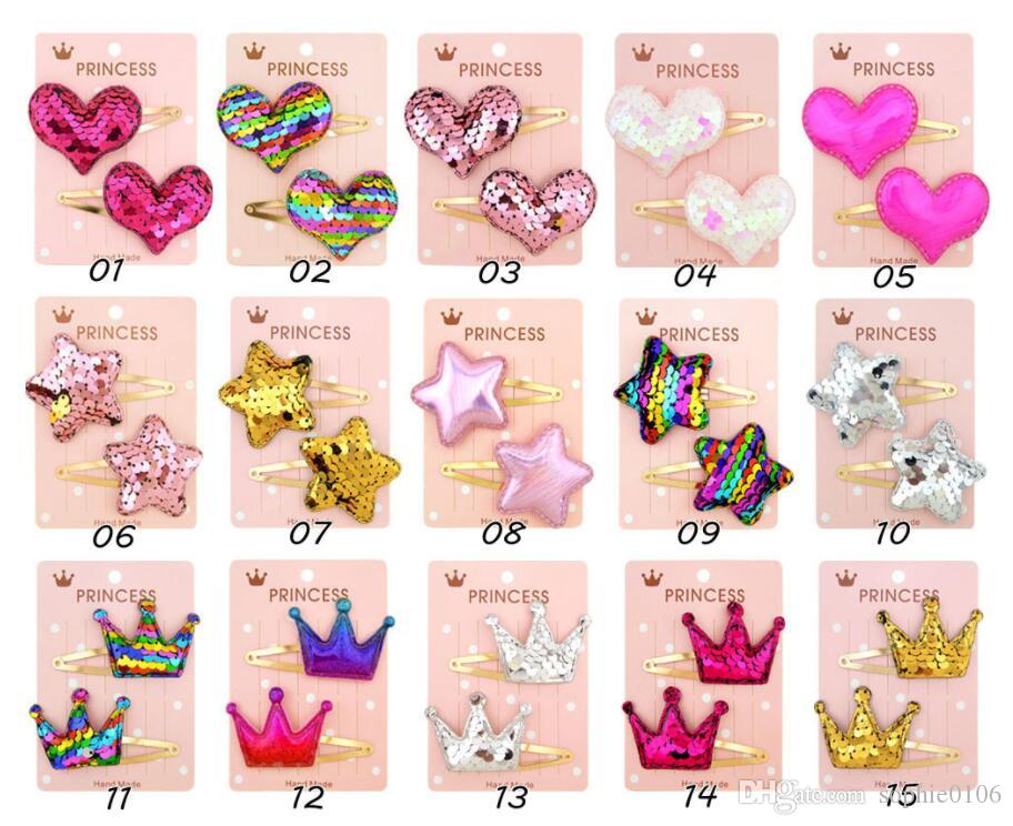 Girl New Fashion Paillette Colorful Hair Barrettes Kids Star Love Crown Style Hair Accessories Children Hair Claws Clips Baby Bows Gift