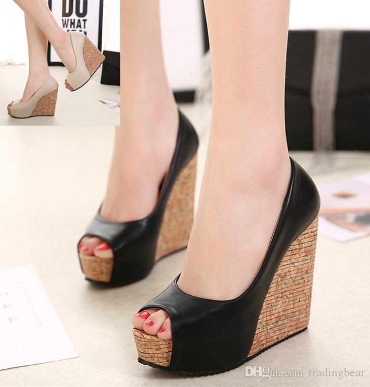 ffd3e9f9 Compre Charm2019 Pop Mujer Tacones Altos Grano De Madera Plataforma Peep  Toe Zapatos De Cuña A A $48.85 Del Glassshoes | DHgate.Com