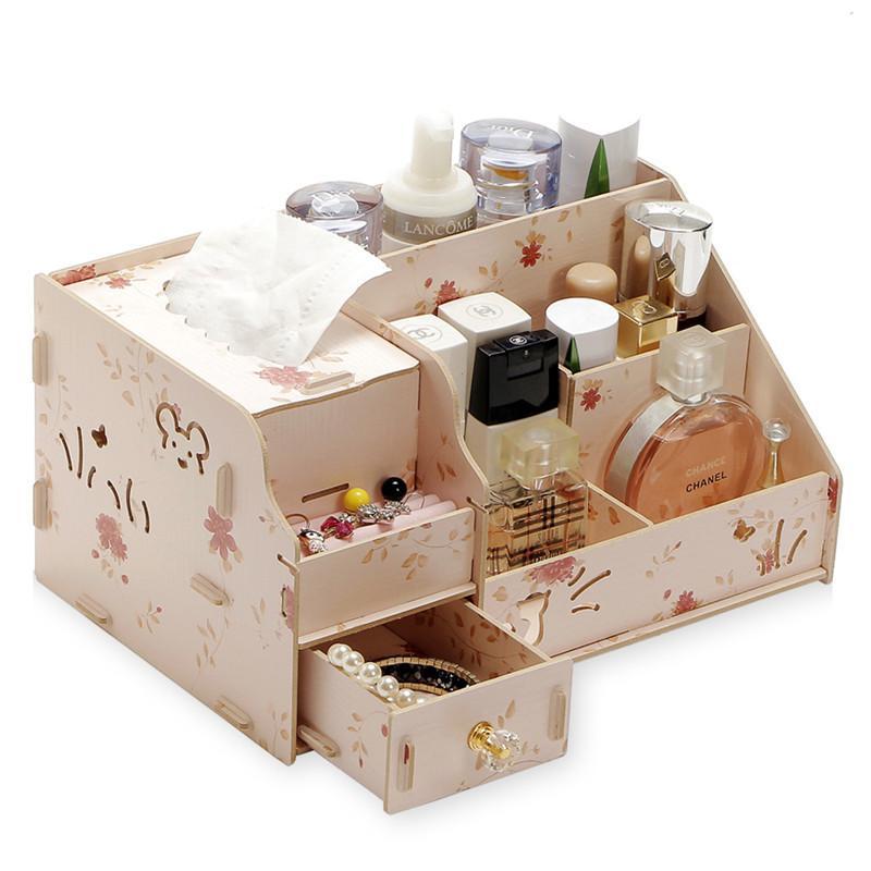 DIY Wooden Jewelry Container Cosmetic Storage Makeup Organizer Storage Box  Organizer Box Casket Wood Drawer
