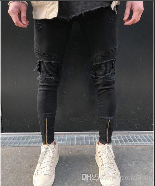 ca58ae7bb0770 Noir Hommes Jeans Pantalon Déchiré Moto Biker Hommes Lavage Denim Jeans  Casual Hi Street Distressed Jeans Pantalon Pour Hommes J180643