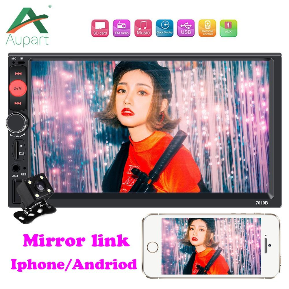 2 Din Car Radio 7 Touch Screen Stereo Autoradio Android for Iphone Mirror  Link Rear View Camera MP5 Player Multimidia
