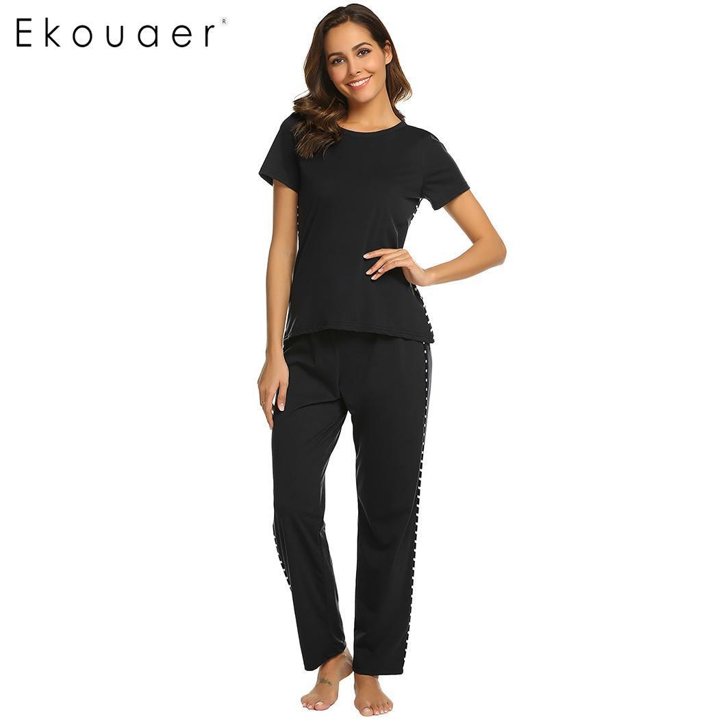 ee29d99e32 Ekouaer Women Spring Summer Pajama Set O-Neck Short Sleeve Nightwear Suit  Striped Patchwork Elastic Pants Homewear Clothes Pajama Sets Cheap Pajama  Sets ...